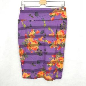 LuLaRoe Floral Striped Cassie Skirt Size Medium